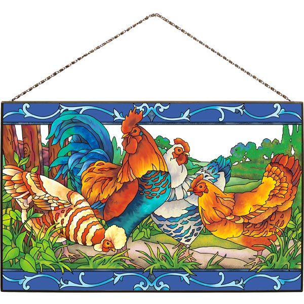 Art Panel-AP383R-Country French Rooster/Hens - Country French Rooster/Hens