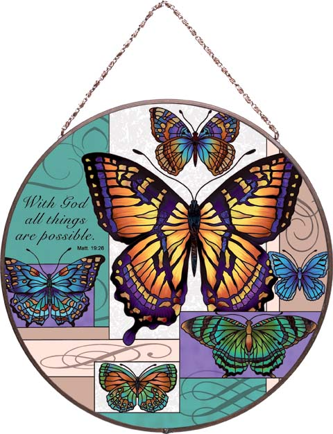 Art Panels-AP4019R-Butterfly Collage/With God all things are possible. Matt 19:26 - Butterfly Collage/With God all things are possible. Matt 19:26