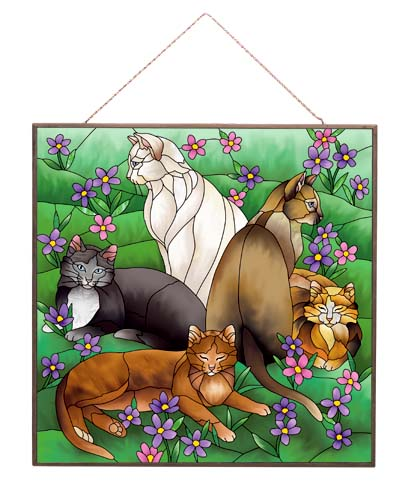 Art Panel-APM113R-Tiffany Cats - Tiffany Cats