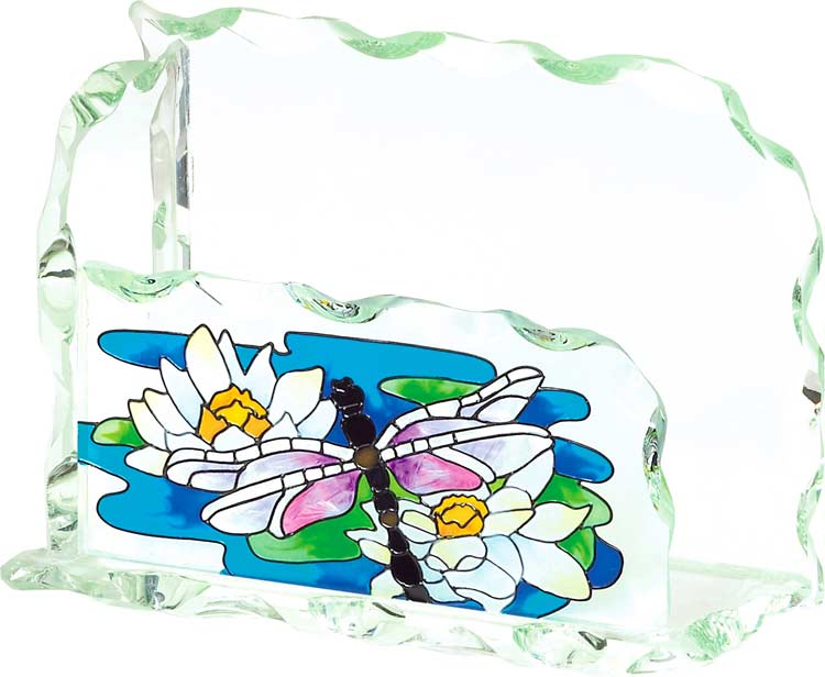 Business Card Holder-BCH1003-Dragonfly/Water Lilies - Dragonfly/Water Lilies