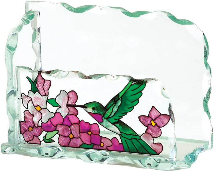 Business Card Holder-BCH1011-Hummingbird/Hydrangea - Hummingbird/Hydrangea
