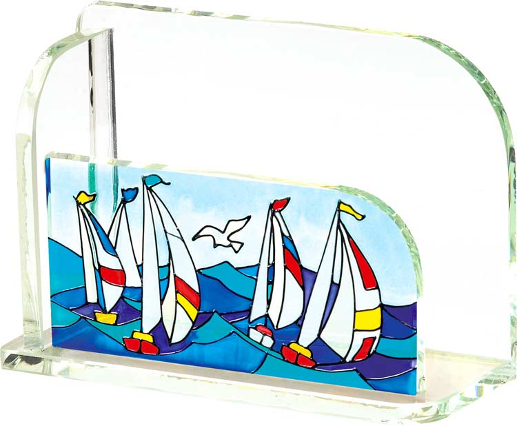 Business Card Holder-BCH2004-Sailboats - Sailboats