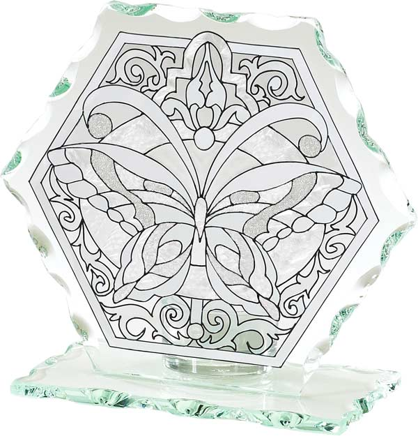 Candleware-CP1022-Tiffany Butterfly in Whites - Tiffany Butterfly in Whites
