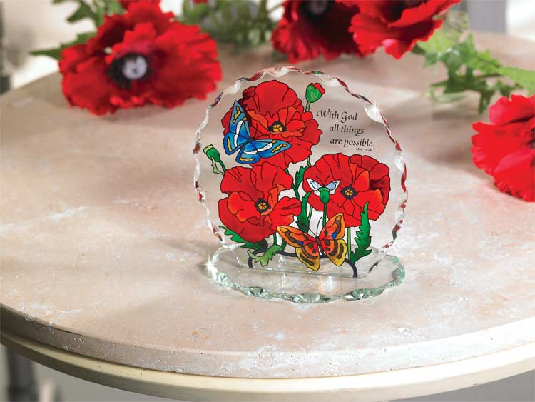 Candelware-CP1032-Poppy Garden/With God all things are possible. Mt. 19:26 - Poppy Garden/With God all things are possible.  Matt. 19:26