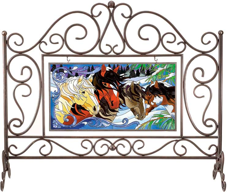 Rectangular Fireplace Screen with APM212 Art Panel - Rectangular Fireplace Screen with APM212 Art Panel