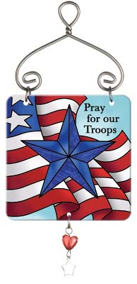 Suncatcher-JSW174R-Flag//Pray for our Troops - Flag//Pray for our Troops