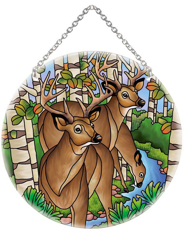 Suncatcher-LC217R-Deer at Stream - Deer at Stream