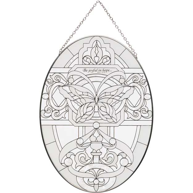 Suncatcher-LO236-Butterfly in Whites//Be joyful - Butterfly in Whites//Be joyful