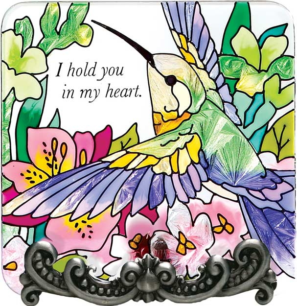 Message Plaque-MP1046-Hummingbird/Lilies/I hold you in my heart - Hummingbird/Lilies/I hold you in my heart