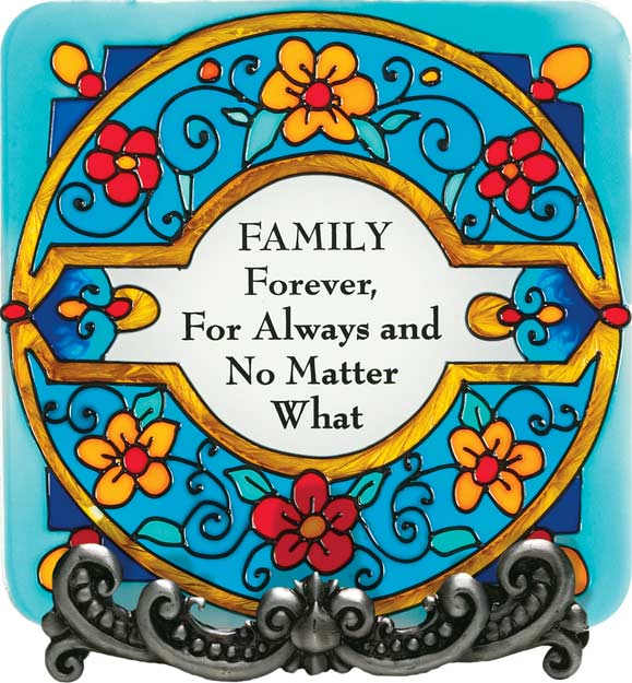 Message Plaque-MP1049-Floral Wreath/FAMILY Forever... - Floral Wreath/FAMILY Forever, For Always and No Matter What