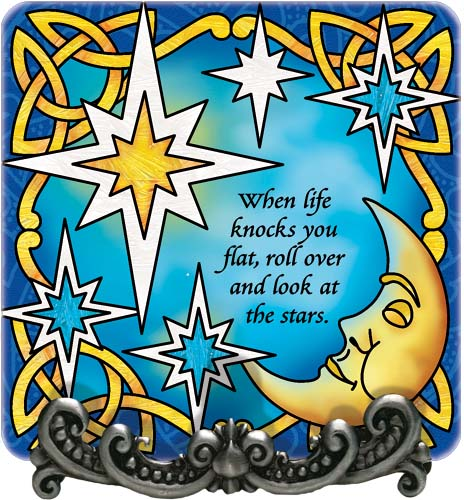 Message Plaque-MP1063R-Moon & Stars/When life knocks you flat... - Moon & Stars/When life knocks you flat, roll over and look at the stars.