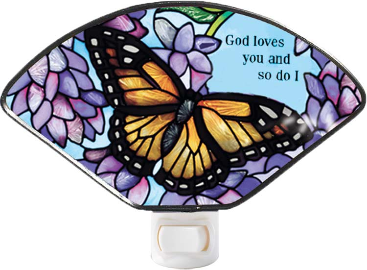 Nightlight-NL135-Monarch & Wisteria/God loves you and so do I - Monarch & Wisteria/God loves you and so do I