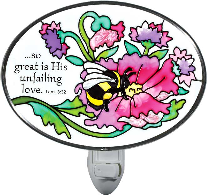 Nightlight-NL264-Bee in Flower/So great is His unfailing love... - Bee in Flower/So great is His unfailing love... Lam. 3:32