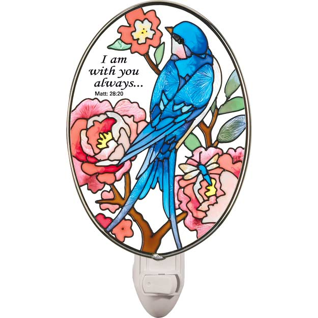 Nightlight-NL4005-Swallow with Peonies/I am with you always - Swallow with Peonies/I am with you always. Mt. 28:20