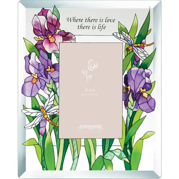 Photoframe-PFB4675-Purple Irises/Where there is love... - Purple Irises/Where there is love, there is life.