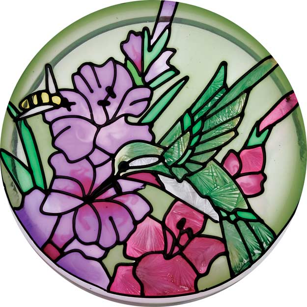 Paperweight/Coaster-PWT1004-Hummingbird/Gladioluses - Hummingbird/Gladioluses