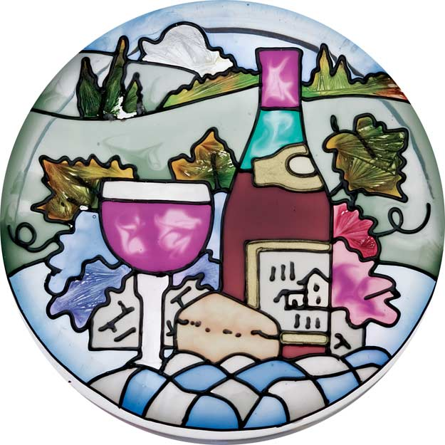 Paperweight/Coaster-PWT1008-Wine & Cheese - Wine & Cheese