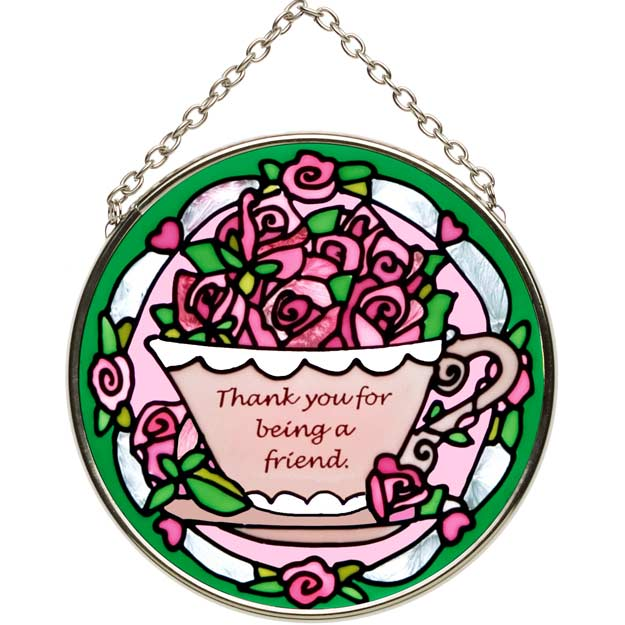 Suncatcher-SC155-Tea Cup with Roses/Thank you - Tea Cup with Roses/Thank you