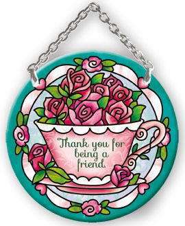 Suncatcher-SC155R-Tea Cup with Roses/Thank you - Tea Cup with Roses/Thank you