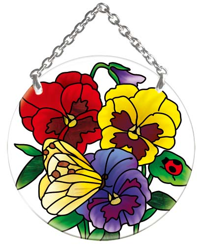 Suncatcher-SC185R-Botanical Pansies - Botanical Pansies