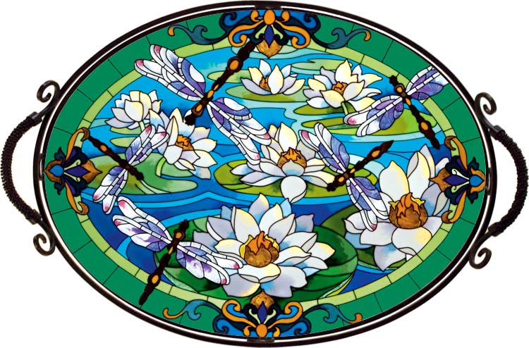 Art Table-TA703W-Dragonfly/Water Lilies - Dragonfly/Water Lilies