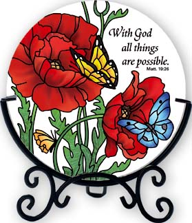 Candleware-VMC175R-Poppy Garden/With God all things are possible.  Matt. 19:26 - Poppy Garden/With God all things are possible.  Matt. 19:26