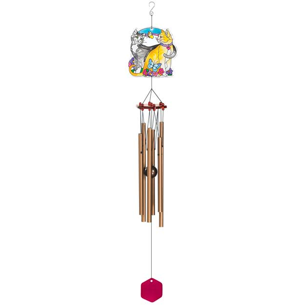 Windchimes-WCH309-2 Cats - 2 Cats
