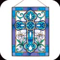 Art Panel-AP142R-Tiffany Cross in Blue & Violet - Tiffany Cross in Blue & Violet