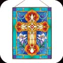 Art Panel-AP144R-Tiffany Cross in Jewel Tones - Tiffany Cross in Jewel Tones