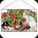 Art Panels-AP398R-Cats & Geraniums - Cats & Geraniums