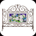 Rectangular Fireplace Screen with APM209 Art Panel - Rectangular Fireplace Screen with APM209 Art Panel
