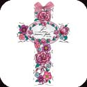 Cross-GX4028R-Pink Petals/Love never Fails. 1 Cor 13:8 - Pink Petals/Love never Fails. 1 Cor 13:8