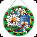 Suncatcher-LC238R-Daisies & Ladybugs/With God all things.... - Daisies & Ladybugs/With God all things are possible. Mt. 19:26