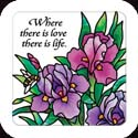Magnet-LMG313R-Purple Irises//Where there is love there is life. - Purple Irises//Where there is love there is life.