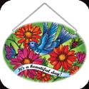 Suncatcher-LO069R-Blue Bird & Gerbera Daisies/It's a beautiful day! - Blue Bird & Gerbera Daisies/It's a beautiful day!