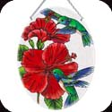 Suncatcher-LO074R-Hummingbird & Hibiscues - Hummingbird & Hibiscues