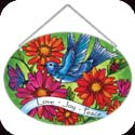 Suncatcher-LO119R-Blue bird & Gerbera Daisies/Love Joy Peace - Blue bird & Gerbera Daisies/Love Joy Peace