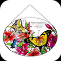 Suncatcher-LO124-Butterflies/Lilies/Amazing Grace - Butterflies/Lilies/Amazing Grace-For it is by grace you have been saved...it is the gift of God. Eph. 2:8.