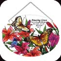 Suncatcher-LO124R-Butterflies/Lilies/Amazing Grace - Butterflies/Lilies/Amazing Grace-For it is by grace you have been saved...it is the gift of God. Eph. 2:8.