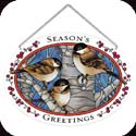 Suncatcher-LO169R-Chickadees in Birch Tree/SEASON'S GREETING - Chickadees in Birch Tree/SEASON'S GREETING