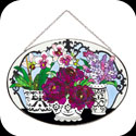 Suncatcher-LO187-Black & White Vases with Flowers - Black & White Vases with Flowers