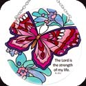 Suncatcher-MC266R-Butterfly Floral/The Lord is the... - Butterfly Floral/The Lord is the strength of my life. Ps. 25:1