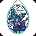 Suncatcher-MO257R-Blue Butterflies/Grace and Peace be to this place - Blue Butterflies/Grace and Peace be to this place
