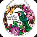 Suncatcher-082R-Hummingbird & Flowers/God Bless our home  - Hummingbird & Flowers/God Bless our home