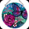 Suncatcher-SC108R-Blue Butterfly & Rose - Blue Butterfly & Rose