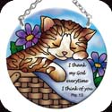 Suncatcher-SC133R-Cat Nap/I thank my God every time... - Cat Nap/I thank my God every time I think of you. Phil. 1:3