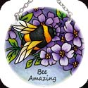 Suncatcher-SC146R-Bee & Purple Flowers/Bee Amazing - Bee & Purple Flowers/Bee Amazing