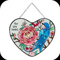Suncatcher-SH023-Swallow with Peonies/You are loved. - Swallow with Peonies/You are loved.