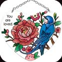 Suncatcher-SH023R-Swallow with Peonies/You are loved. - Swallow with Peonies/You are loved.