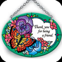 Suncatcher-SO159R-Victorian Flowers/Thank you for being a friend - Victorian Flowers/Thank you for being a friend